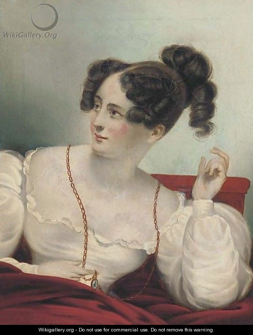 Portrait of a lady, seated half-length, in a white dress, holding a locket - English School