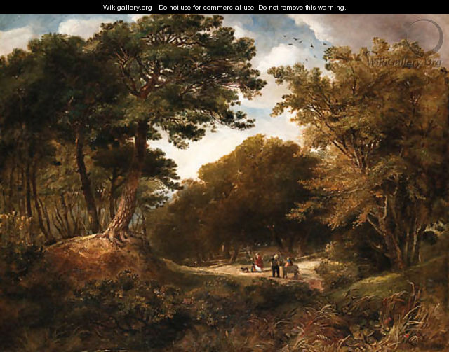 Travelers on a wooded path - English School