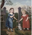 Portrait of two girls, full-length, in a garden - English Provincial School