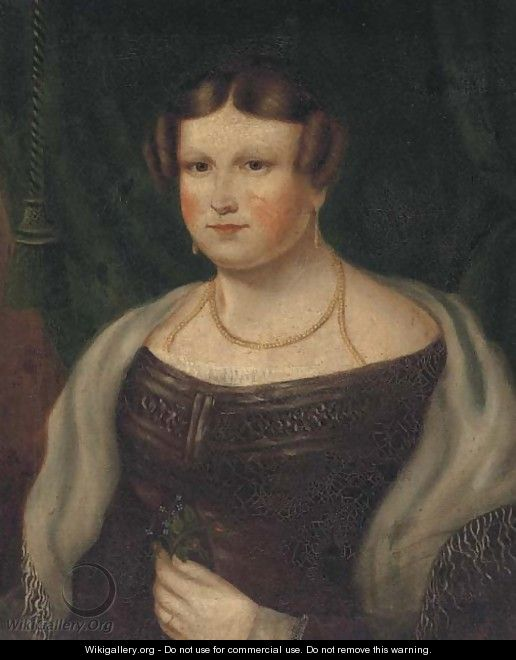 Portrait of a lady, bust-length, in a purple dress, holding a posy - English Provincial School