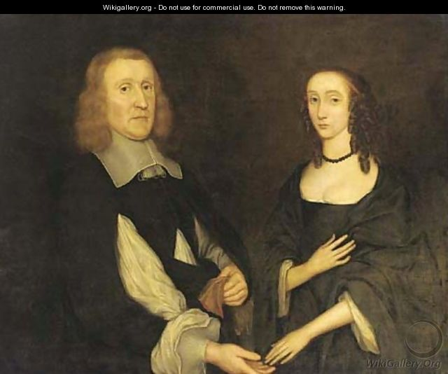 Double portrait of a lady and gentleman - English School