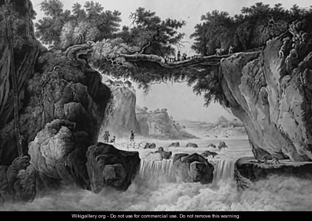 Travellers and Bearers crossing a Waterfall in a topographical Landscape - English School