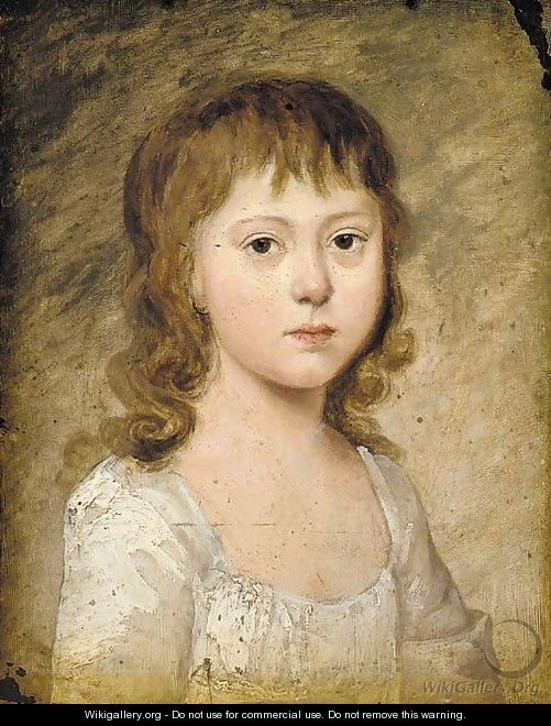 Portrait of a young girl, small quarter-length, in a white dress - English School