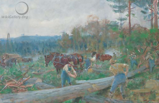Lumberjacks and horses in a woodland clearing - English School