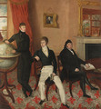 Group portrait of three men in an interior - English School