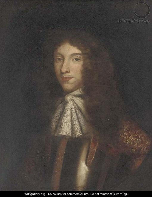 Portrait of William Ffarington, bust-length, in a lace jabot and armour, feigned oval - English School