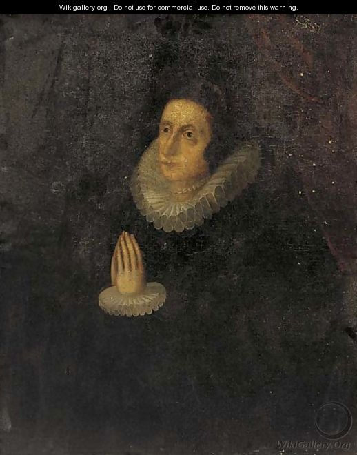 Portrait of a lady, three-quarter-length, in a black dress and lace collar and cuffs, at prayer - English School