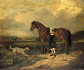 A Girl with her Favourite Pony and Dog in a landscape - English School