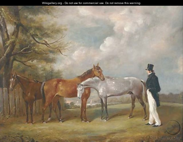 A gentleman with three horses under a tree - English School