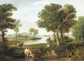 A drover with cattle in a river landscape - English School