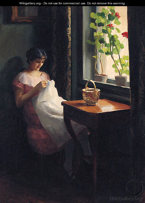 A Girl sewing by a sunlit Window - Emil Pap