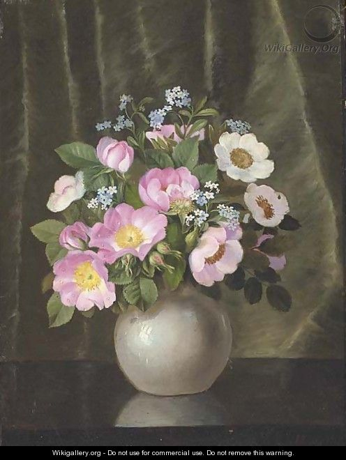 Summer flowers in a grey vase on polished table - Emil C. Unlitz