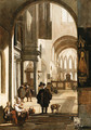 The Interior of a Gothic Church, looking down the Aisle to the Choir, with a Family begging for Alms - Emanuel de Witte