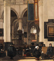 The interior of a church with a congregation listening to a sermon - Emanuel de Witte