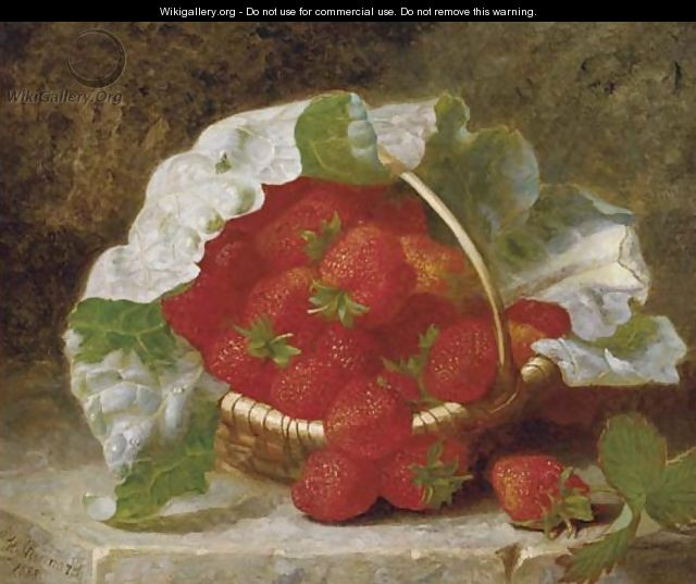 Strawberries and cabbage leaf in a wicker basket - Eloise Harriet Stannard