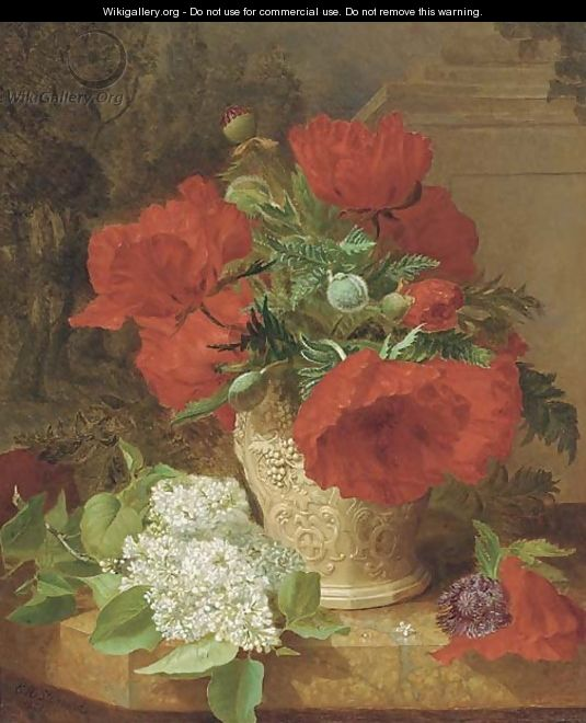 Poppies in a vase, with white lilac on a marble ledge - Eloise Harriet Stannard