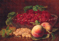 Peaches, Whitecurrants, Raspberries in a glass Bowl, and Wasps - Eloise Harriet Stannard