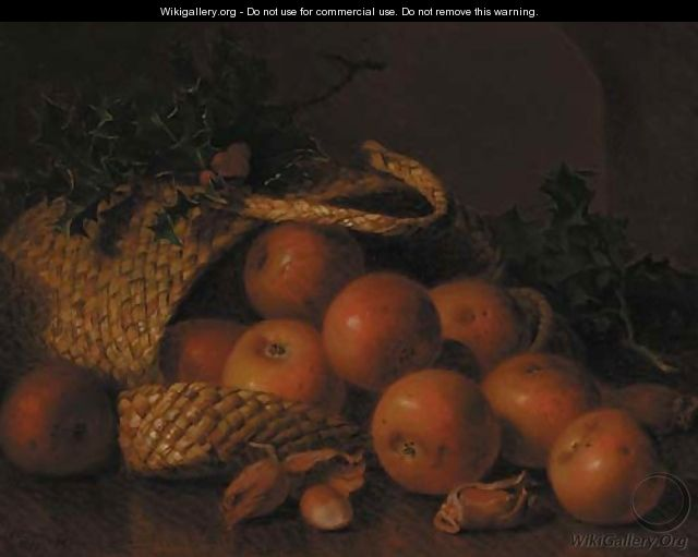 Cobnuts, holly and apples in a wicker basket, on a wooden ledge - Eloise Harriet Stannard