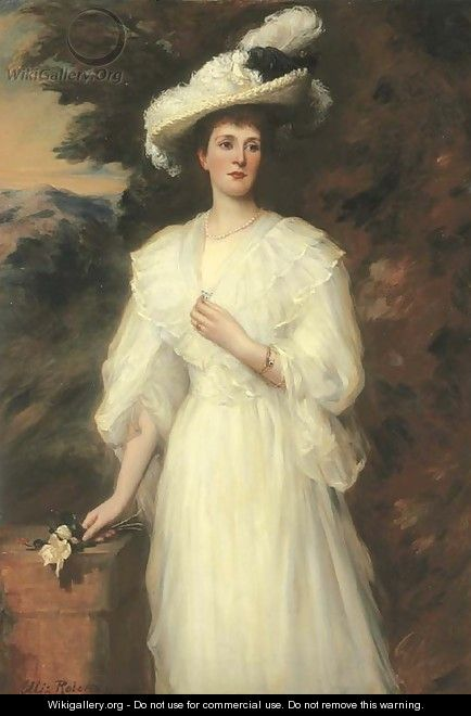 Portrait Of Edith, Lady Cunard, Three-Quarter-Length, In A White Dress - Ellis William Roberts