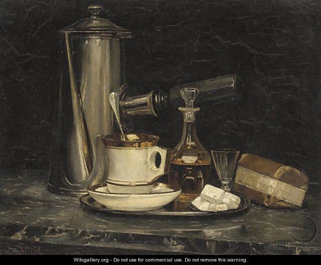 Still Life Of A Decanter - Emile Stahl