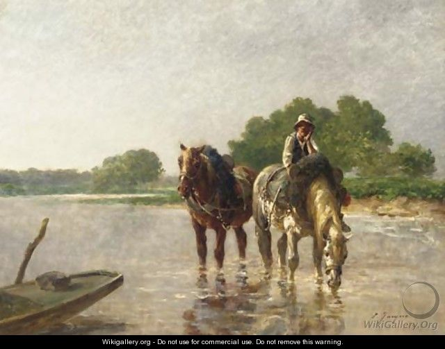 Working horses pausing for a drink in a river - Charles Emile Jacques