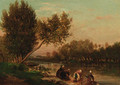 Washerwomen on the banks of a river - Emile Charles Lambinet