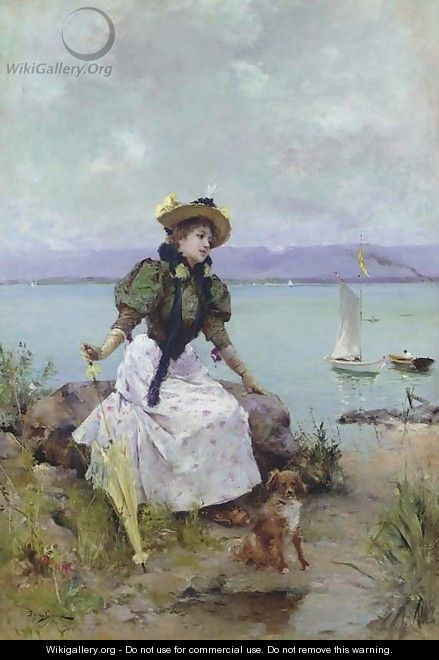 A Young Girl with a Parasol - Auguste Emile Pinchart
