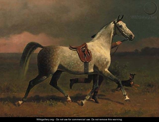 A dappled grey hunter trotting with a groom in a landscape - Emil Volkers