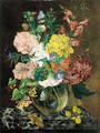 Still life of chrysanthemums, narcissi, honeysuckle, sweetpeas, and convulvulus in a glass vase, with a butterfly and a ladybird, on a marble ledge - Emily Stannard