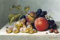 Peaches and grapes on a marble ledge - Emilie Preyer