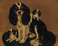 A spaniel and her puppies - English Provincial School