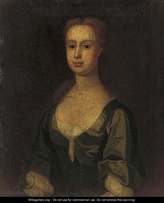 Portrait of a lady, bust-length, in a blue dress, feigned - English Provincial School