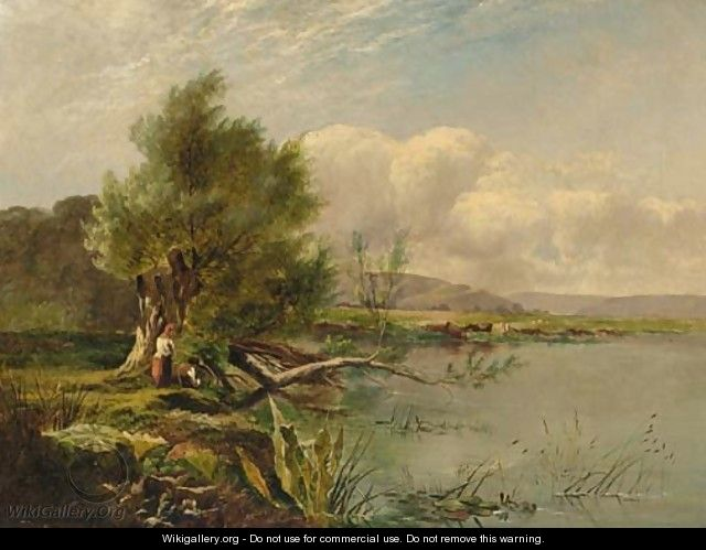 Anglers by a tranquil river - Henry John Boddington