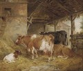 Cows in a barn - Edwin Frederick Holt