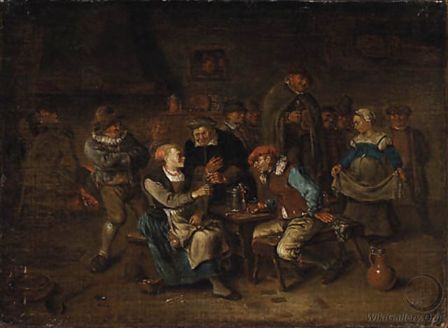 Peasants merry making in a Tavern - Egbert van, the Younger Heemskerck