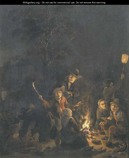 Boors gathered around a bonfire at night - Egbert van der Poel