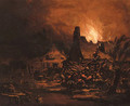 Villages burning at night - Egbert van der Poel