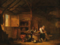 A woman plucking a duck in a barn - Egbert van der Poel