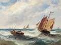 Boats in a swell; and Boats outside the harbour walls - Edwina Lara