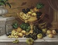 Still Life of grapes, peaches and a pineapple in an ewer on a ledge surounded by other fruit - Edwin Steele
