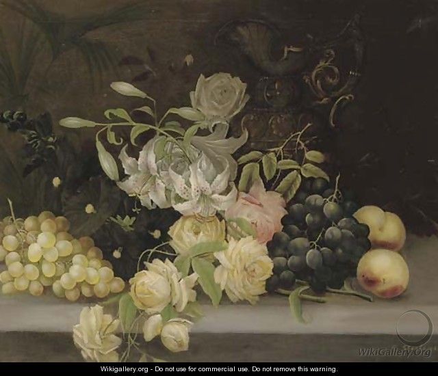 Lillies and roses, hollyhocks, grapes and peaches - Edwin Steele
