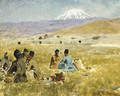Persians lunching on the Grass, Mt. Ararat in the Distance - Edwin Lord Weeks