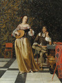 A lady playing a lute with a gentleman seated at a table in an interior - Eglon van der Neer