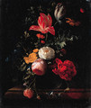 Pink and red Roses, Parrot Tulips, Camellias, Marigolds and other Flowers in a Vase on a Ledge - Elias van den Broeck