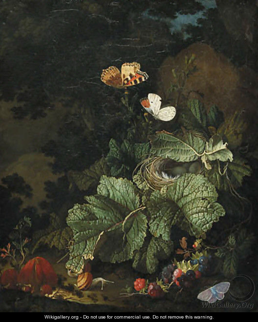 A forest floor still life with a bird