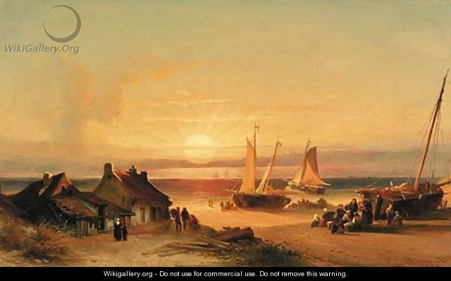 Fishing village at sunrise - Elias Pieter van Bommel