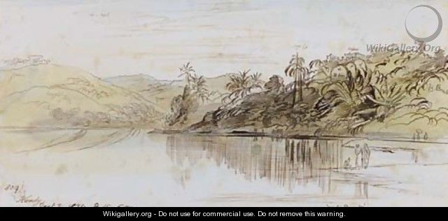 View over the lake, Kandy, Ceylon - Edward Lear