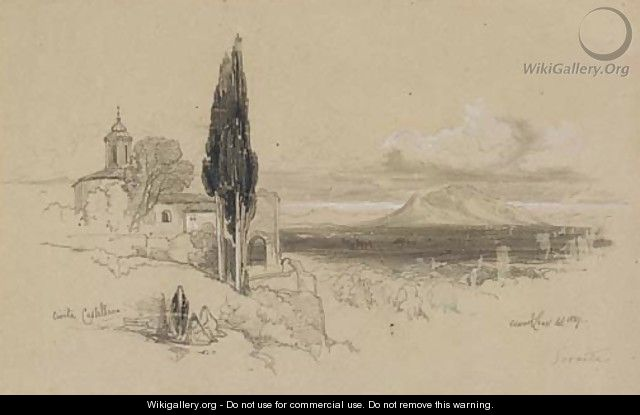 View of Civita Castellana with Mount Soracte in the distance - Edward Lear