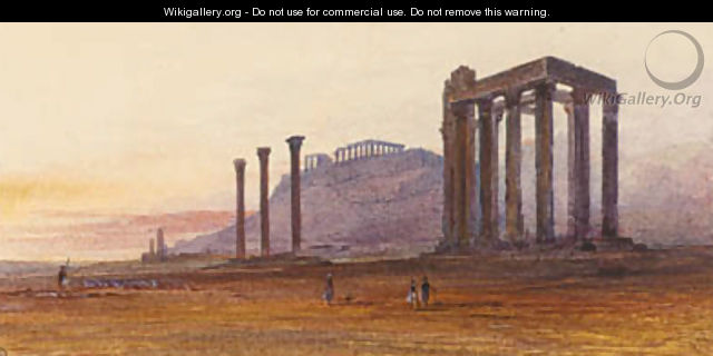 The Temple of Olympian Zeus, with the Acropolis in the distance, Athens, Greece - Edward Lear