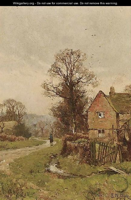 A figure on a country lane - Edward Wilkins Waite